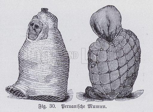 Peruvian mummies. Illustration from Universum des Himmels, der Erde und des Menschen (F E Bilz, Dresden-Radebeul and Leipzig, c1925).