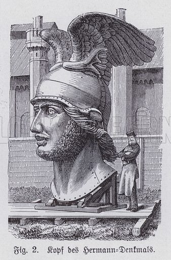 Head of the Hermannsdenkmal, monument to the Germanic warrior and chief Arminius, who defeated the Romans at the Battle of the Teutoburg Forest in 9 AD, Detmold, Germany. Illustration from Universum des Himmels, der Erde und des Menschen (F E Bilz, Dresden-Radebeul and Leipzig, c1925).
