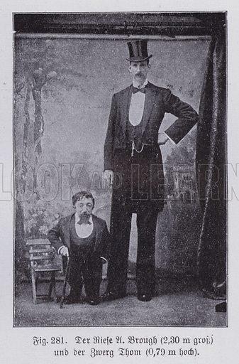 Abnormailities in humans: dwarfism and gigantism. Illustration from Universum des Himmels, der Erde und des Menschen (F E Bilz, Dresden-Radebeul and Leipzig, c1925).