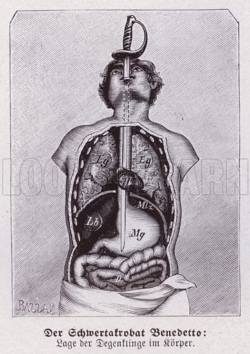 Sword swallower. Abnormalities in humans. Illustration from Universum des Himmels, der Erde und des Menschen (F E Bilz, Dresden-Radebeul and Leipzig, c1925).