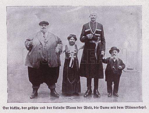 The fattest, tallest and shortest men in the World, and a bearded lady. Illustration from Universum des Himmels, der Erde und des Menschen (F E Bilz, Dresden-Radebeul and Leipzig, c1925).