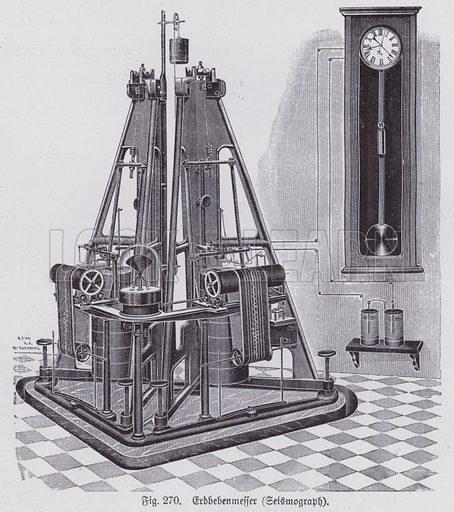 Seismometer for measuring earth tremors. Illustration from Universum des Himmels, der Erde und des Menschen (F E Bilz, Dresden-Radebeul and Leipzig, c1925).