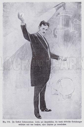 Serbian-born scientist and inventor Nikola Tesla in his laboratory with harmless glowing fireballs created by electrical discharges. Illustration from Universum des Himmels, der Erde und des Menschen (F E Bilz, Dresden-Radebeul and Leipzig, c1925).