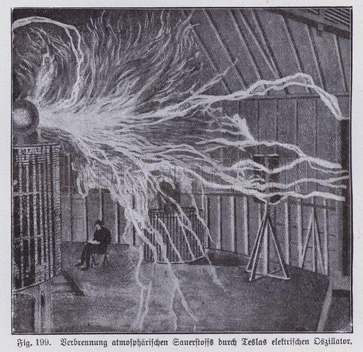 Combustion of atmospheric oxygen by Nikola Tesla's electric oscillator. Illustration from Universum des Himmels, der Erde und des Menschen (F E Bilz, Dresden-Radebeul and Leipzig, c1925).