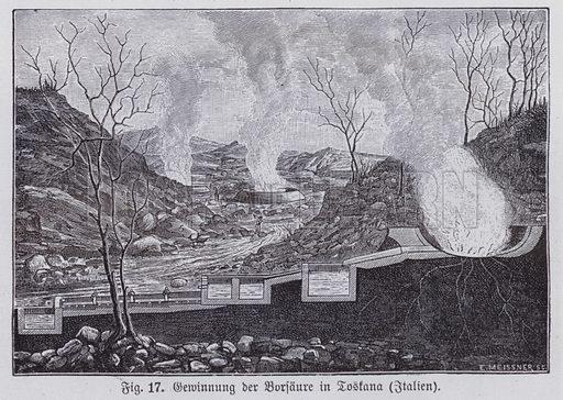 Extraction of boric acid in Tuscany, Italy. Illustration from Universum des Himmels, der Erde und des Menschen (F E Bilz, Dresden-Radebeul and Leipzig, c1900).