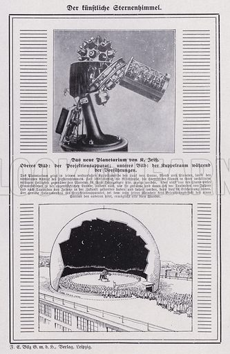 Projection apparatus and domed viewing chamber of a planetarium. Illustration from Universum des Himmels, der Erde und des Menschen (F E Bilz, Dresden-Radebeul and Leipzig, c1900).