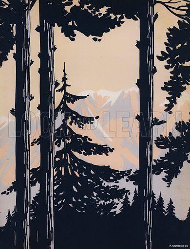 Mountain landscape. Illustration from L'Imprimerie et la Pensee Moderne (Bulletin Officiel des Maitres Imprimeurs, Paris, 1928).