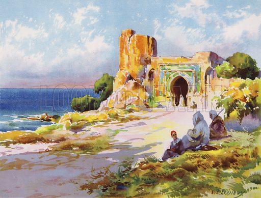Environs of Rabat, Morocco. Illustration from L'Imprimerie et la Pensee Moderne (Bulletin Officiel des Maitres Imprimeurs, Paris, 1928).