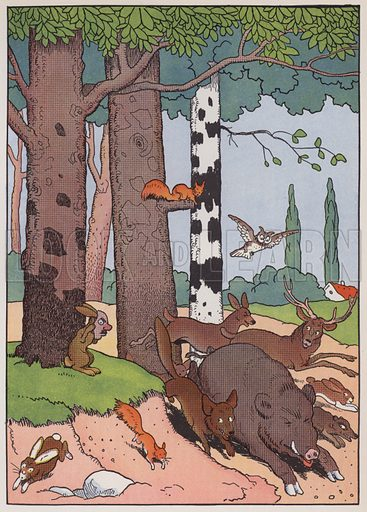 Animals of the forest, illustration from Fables Comiques, by Benjamin Rabier. Illustration from L'Imprimerie et la Pensee Moderne (Bulletin Officiel des Maitres Imprimeurs, Paris, 1928).