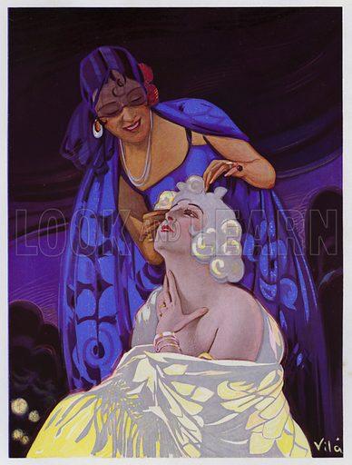 Woman having her hair done, advertisement for Imprimeries Robert Desvignes. Illustration from L'Imprimerie et la Pensee Moderne (Bulletin Officiel des Maitres Imprimeurs, Paris, 1928).
