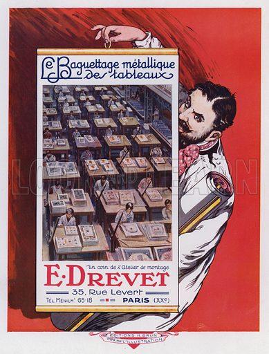 View of a printing workshop, advertisement for E Drevet, Paris. Illustration from L'Imprimerie et la Pensee Moderne (Bulletin Officiel des Maitres Imprimeurs, Paris, 1928).