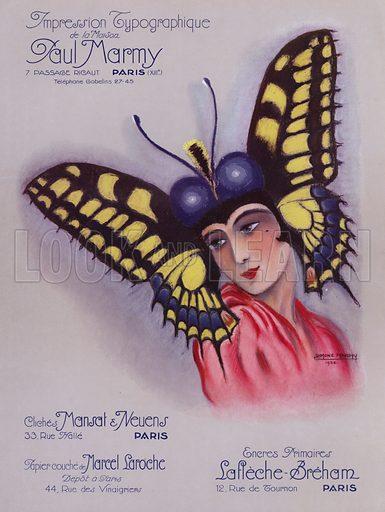 Woman wearing a butterfly headdress. Illustration from L'Imprimerie et la Pensee Moderne (Bulletin Officiel des Maitres Imprimeurs, Paris, 1928).