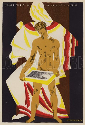 Printing and modern thought. Illustration from L'Imprimerie et la Pensee Moderne (Bulletin Officiel des Maitres Imprimeurs, Paris, 1928).