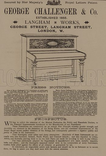 George Challenger & Co pianos, George Street, Langham Street, London. Advertisement in Scraps and Sketches by George Cruikshank (no publisher's name, c 1885).  This is a reprint of pages that originally appeared between 1828 and 1832.