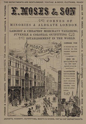 E Moses & Son department store, Minories and Aldgate, London. Advertisement in Scraps and Sketches by George Cruikshank (no publisher's name, c 1885).  This is a reprint of pages that originally appeared between 1828 and 1832.