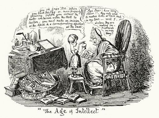 The Age of Intellect. Illustration for Scraps and Sketches by George Cruikshank (no publisher's name, c 1885).  This is a reprint of pages that originally appeared between 1828 and 1832.  From page dated 20 May 1828.