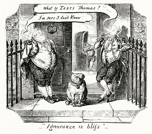 Ignorance is Bliss. Illustration for Scraps and Sketches by George Cruikshank (no publisher's name, c 1885).  This is a reprint of pages that originally appeared between 1828 and 1832.