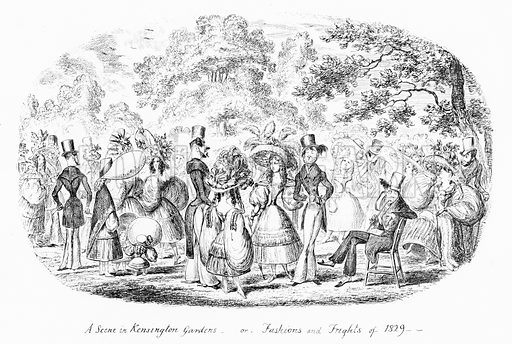 A Scene in Kensington Gardens, or Fashions and Frights of 1829. Illustration for Scraps and Sketches by George Cruikshank (no publisher's name, c 1885).  This is a reprint of pages that originally appeared between 1828 and 1832.
