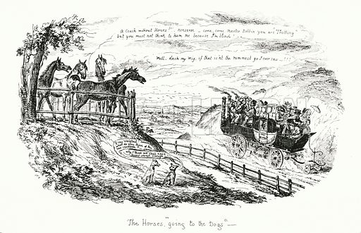 The Horses Going to the Dogs. Illustration for Scraps and Sketches by George Cruikshank (no publisher's name, c 1885).  This is a reprint of pages that originally appeared between 1828 and 1832.  From a page dated 1 November 1829.