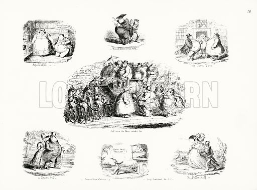 Cartoons by George Cruikshank on the theme of obesity. Illustration for Scraps and Sketches by George Cruikshank (no publisher's name, c 1885).  This is a reprint of pages that originally appeared between 1828 and 1832.