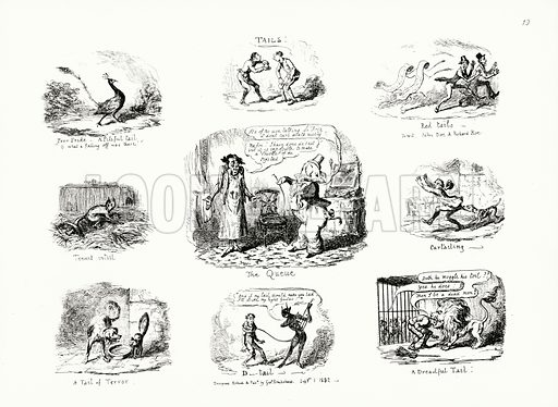 Tails. Illustration for Scraps and Sketches by George Cruikshank (no publisher's name, c 1885).  This is a reprint of pages that originally appeared between 1828 and 1832.