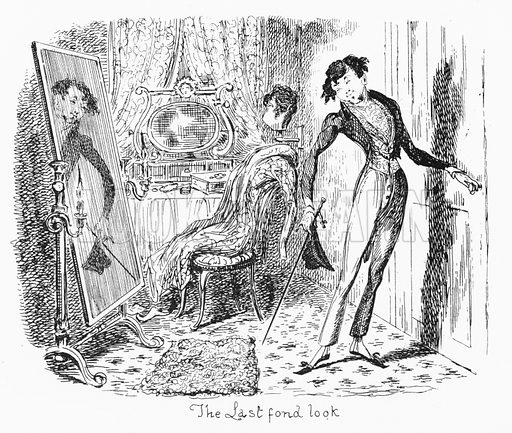 The Last Fond Look. Illustration for Scraps and Sketches by George Cruikshank (no publisher's name, c 1885).  This is a reprint of pages that originally appeared between 1828 and 1832.  From a page dated 1 September 1832.