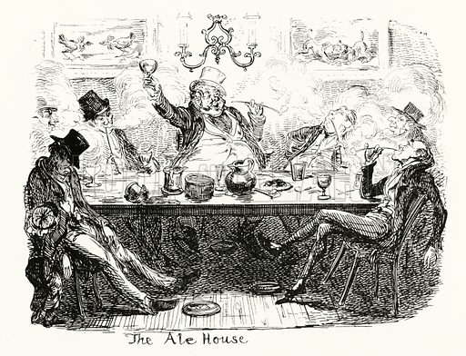 The Ale House. Illustration for Scraps and Sketches by George Cruikshank (no publisher's name, c 1885).  This is a reprint of pages that originally appeared between 1828 and 1832.  From a page dated 1 September 1832.