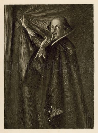 William Shakespeare holding the curtain, and telling us to be quiet.  Illustration for Shakespeare's Histories and Poems (J M Dent, 1912).