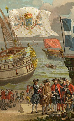 Pavillon Royal.  Illustration for L'Ancienne France, La Marine et Les Colonies, Commerce (Firmin-Didot, 1888).
