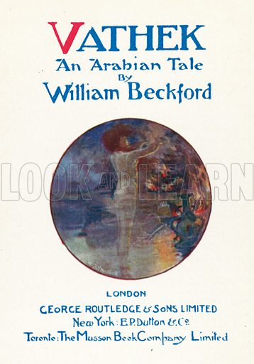 Illustration for Vathek, An Arabian Tale, by William Beckford with illustrations by W[illiam] B[radshaw] Handforth (George Routledge, c 1920).  Note: Only suitable for repro at small size.