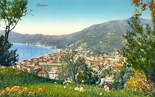 """View of Alassio.  Illustration for a booklet of postcards, Ricordo di Alassio, c 1920.  The postcards are credited to """"Edit. Brunner & C., Como.""""."""