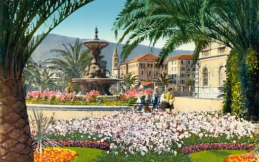 "View of Alassio.  Illustration for a booklet of postcards, Ricordo di Alassio, c 1920.  The postcards are credited to ""Edit. Brunner & C., Como.""."