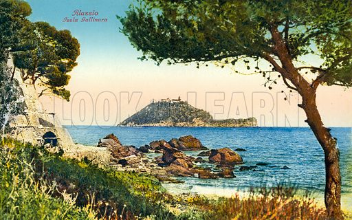 """View of Isola Gallinara, Alassio.  Illustration for a booklet of postcards, Ricordo di Alassio, c 1920.  The postcards are credited to """"Edit. Brunner & C., Como.""""."""
