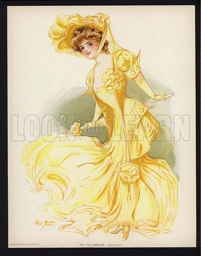 Hippodrome.  One of a set of six large prints of New York showgirls, 1907. In unusually fine condition.