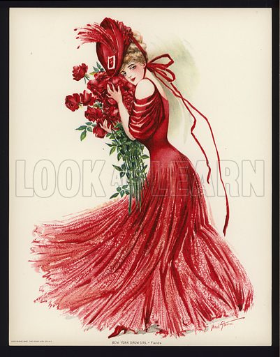 Fields.  One of a set of six large prints of New York showgirls, 1907. In unusually fine condition.