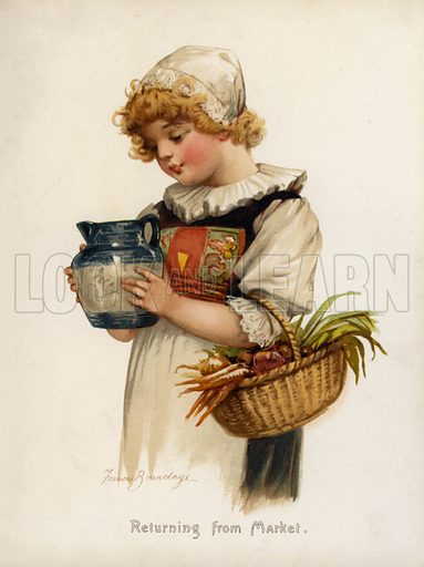 Returning from market.  One of a set of nine images of young girls, probably removed from a book.  Late nineteenth or early twentieth century.