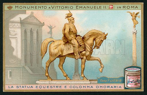 One of a set of Liebig cards on the subject of Vittorio Emanuele II Monument in Rome.  Early twentieth century.  The monument was inaugurated on 4 June 1911 and completed in 1935.
