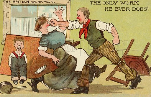 Domestic violence.  One of a set of postcards on the subject of The British Workman.  Early 20th century.  Postcards are not signed, but, on the basis of style, could be by Tom Browne.