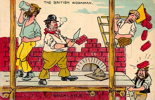 Bricklayer.  One of a set of postcards on the subject of The British Workman.  Early 20th century.  Postcards are not signed, but, on the basis of style, could be by Tom Browne.