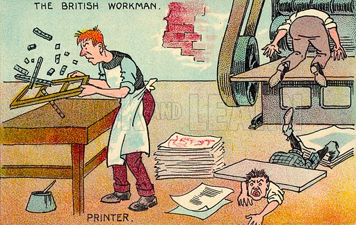Printer.  One of a set of postcards on the subject of The British Workman.  Early 20th century.  Postcards are not signed, but, on the basis of style, could be by Tom Browne.