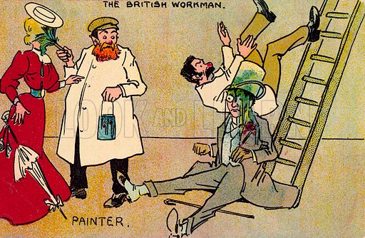 Painter.  One of a set of postcards on the subject of The British Workman.  Early 20th century.  Postcards are not signed, but, on the basis of style, could be by Tom Browne.