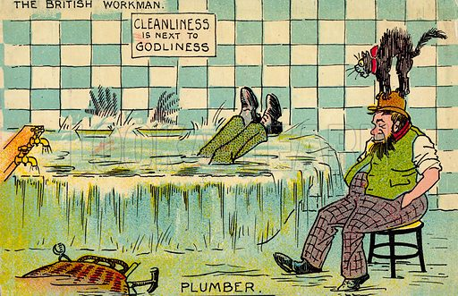 Plumber.  One of a set of postcards on the subject of The British Workman.  Early 20th century.  Postcards are not signed, but, on the basis of style, could be by Tom Browne.