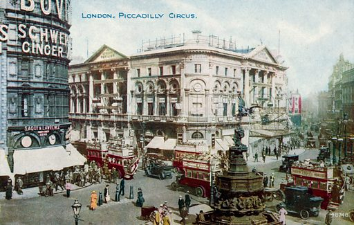Piccadilly Circus, London.  Postcard, early 20th century.