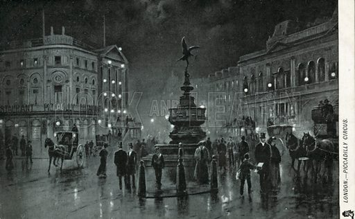 Piccadilly Circus, London.  Postcard, early to 20th century.