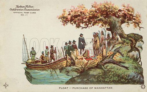 Purchase of Manhattan.  Postcard, early 20th century.