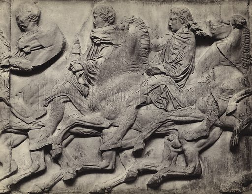 North Frieze, British Museum.  Illustration for Le Sculptures du Parthenon (Editions Tel, c 1930).  Gravure printed.  Photo is credited to Mansell, but most likely taken by the British Museum's photographer, Stephen Thompson.