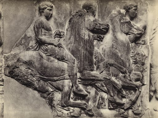 South frieze, British Museum.  Illustration for Le Sculptures du Parthenon (Editions Tel, c 1930).  Gravure printed.  Photo is credited to Mansell, but most likely taken by the British Museum's photographer, Stephen Thompson.