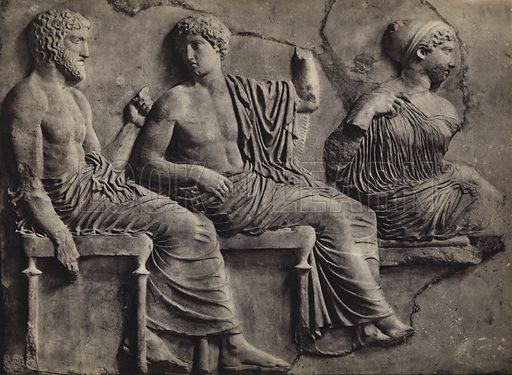 East frieze, Athens Museum.  Illustration for Le Sculptures du Parthenon (Editions Tel, c 1930).  Gravure printed.  Photo credit: Alinari.