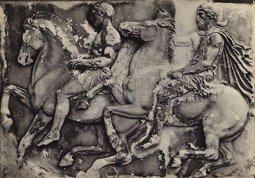 West frieze, in situ.  Illustration for Le Sculptures du Parthenon (Editions Tel, c 1930).  Gravure printed.