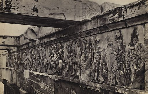 West frieze, in situ.  Illustration for Le Sculptures du Parthenon (Editions Tel, c 1930).  Gravure printed.